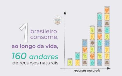 Um brasileiro consome de recursos naturais, na sua vida, 1 torre de 160 andares