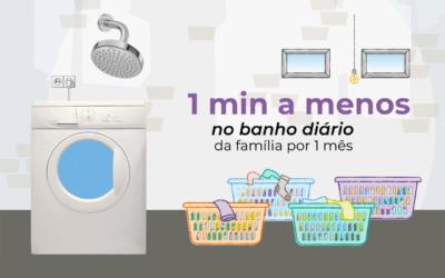 Reduza o tempo de banho e poupe água para lavar toda a roupa da família
